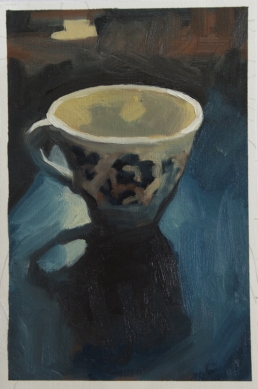Blue and white cup on blue table - a study in blue